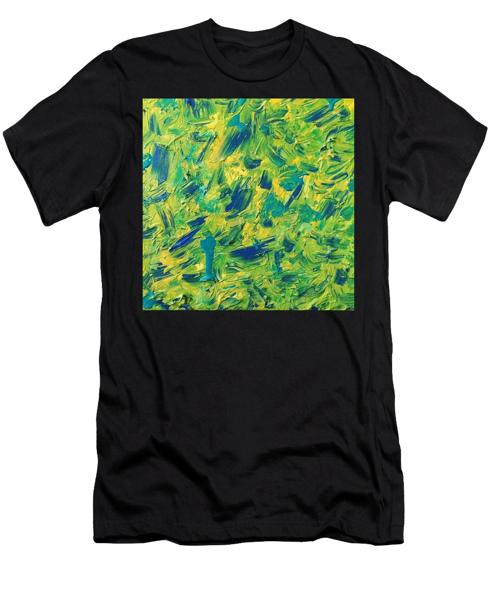 Men's T-Shirt (Athletic Fit) featuring the painting Green And Yellow by Jennifer Santos
