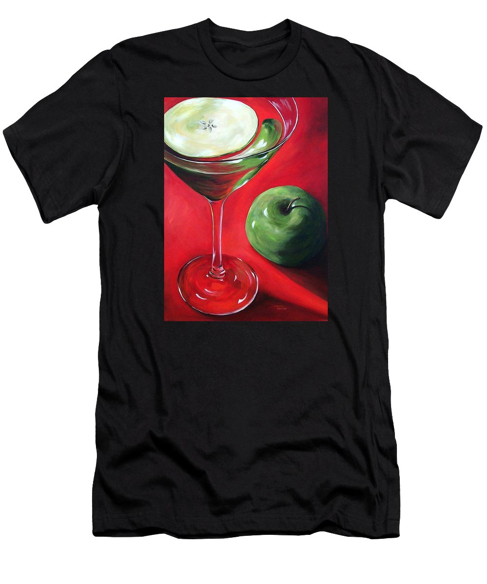 Martini T-Shirt featuring the painting Green Apple Martini by Torrie Smiley