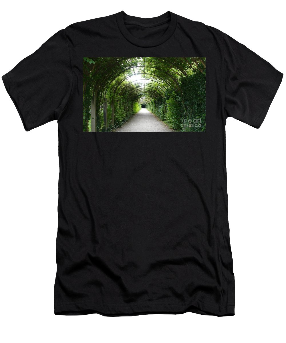 Arbor Men's T-Shirt (Athletic Fit) featuring the photograph Green Arbor Of Mirabell Garden by Carol Groenen