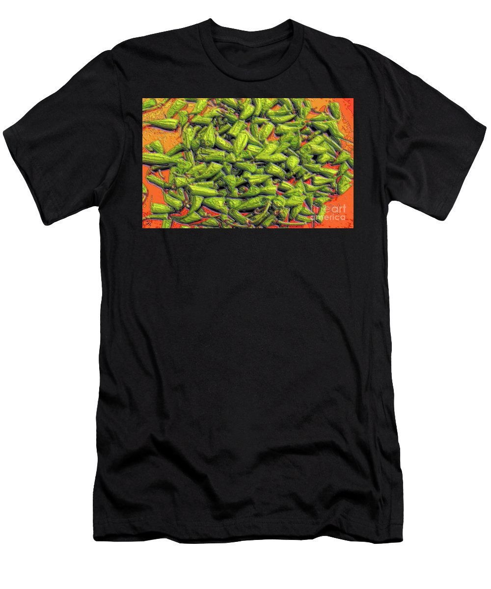 Green Beans Men's T-Shirt (Athletic Fit) featuring the digital art Green Bean Tips by Ron Bissett