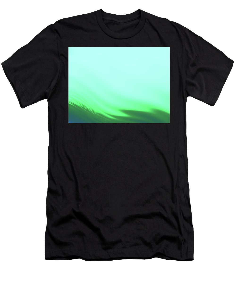 Abstract Men's T-Shirt (Athletic Fit) featuring the digital art Green Blue Waves by Rich Leighton