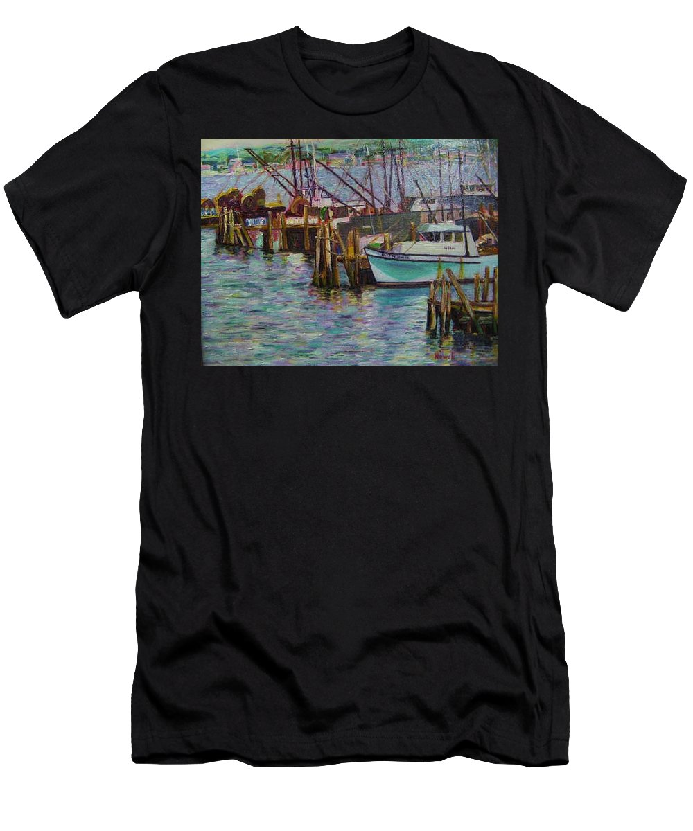 Boat Men's T-Shirt (Athletic Fit) featuring the painting Green Boat At Rest- Nova Scotia by Richard Nowak