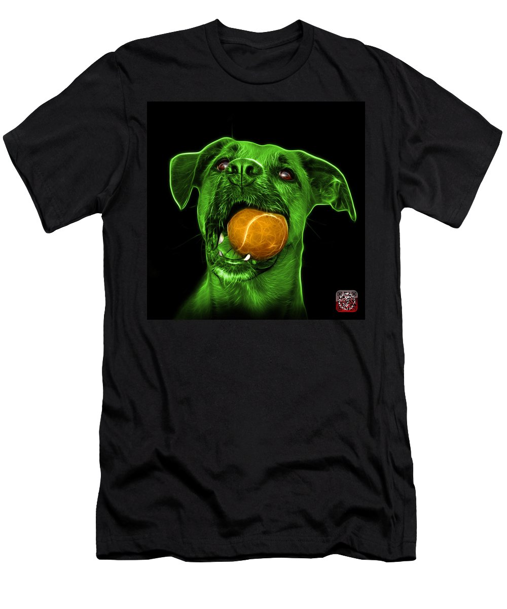 Dog Men's T-Shirt (Athletic Fit) featuring the digital art Green Boxer Mix Dog Art - 8173 - Bb by James Ahn