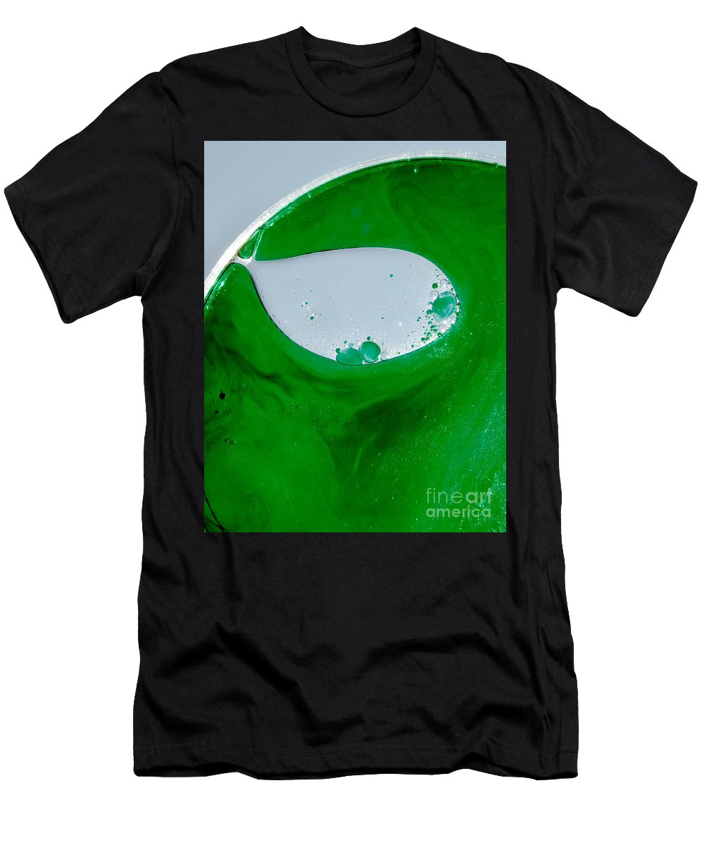 Green Men's T-Shirt (Athletic Fit) featuring the photograph Green Chemicals Abstract by Michelle Himes
