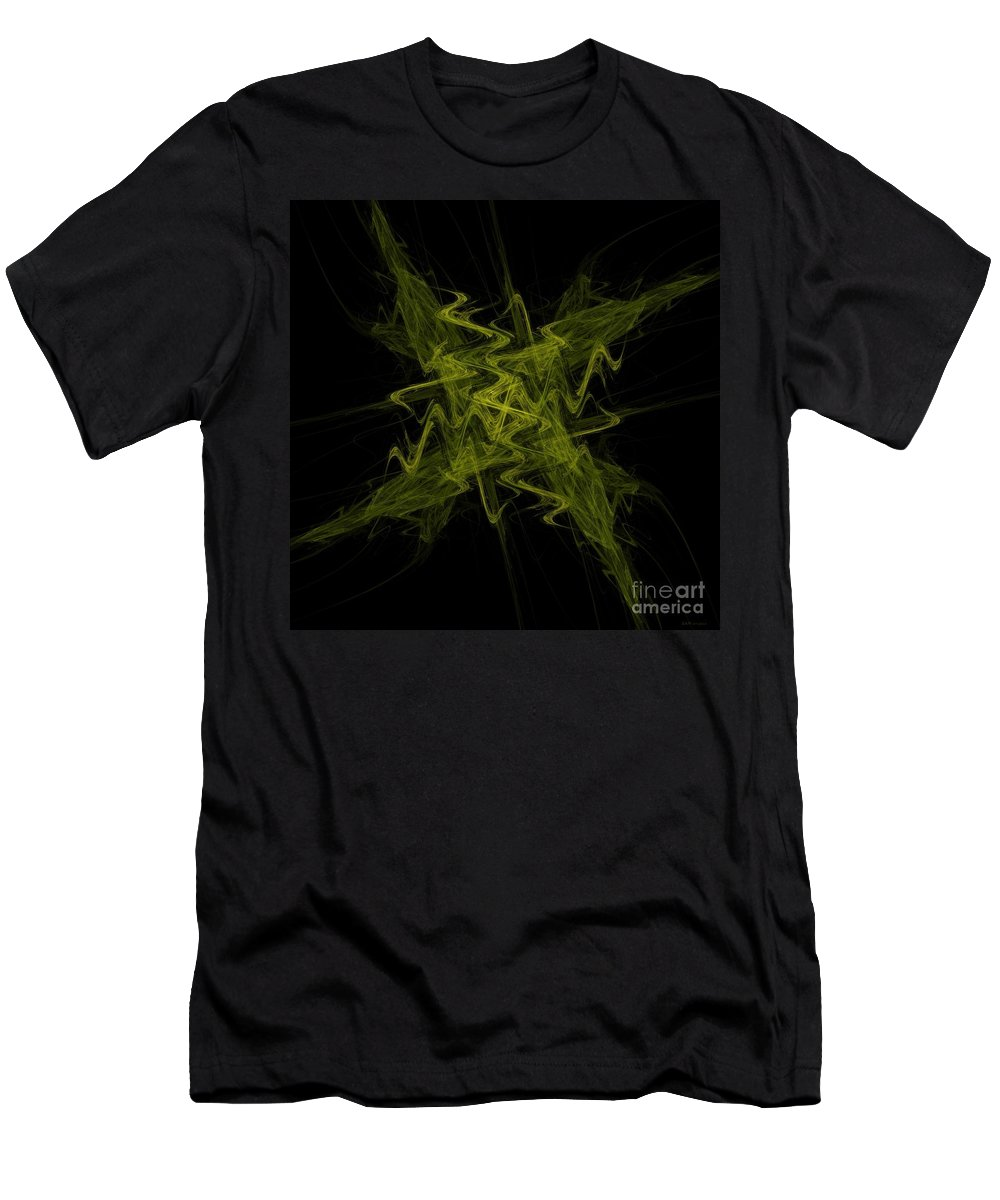 Green Crosshatch Men's T-Shirt (Athletic Fit) featuring the digital art Green Crosshatch Scribble by Elizabeth McTaggart