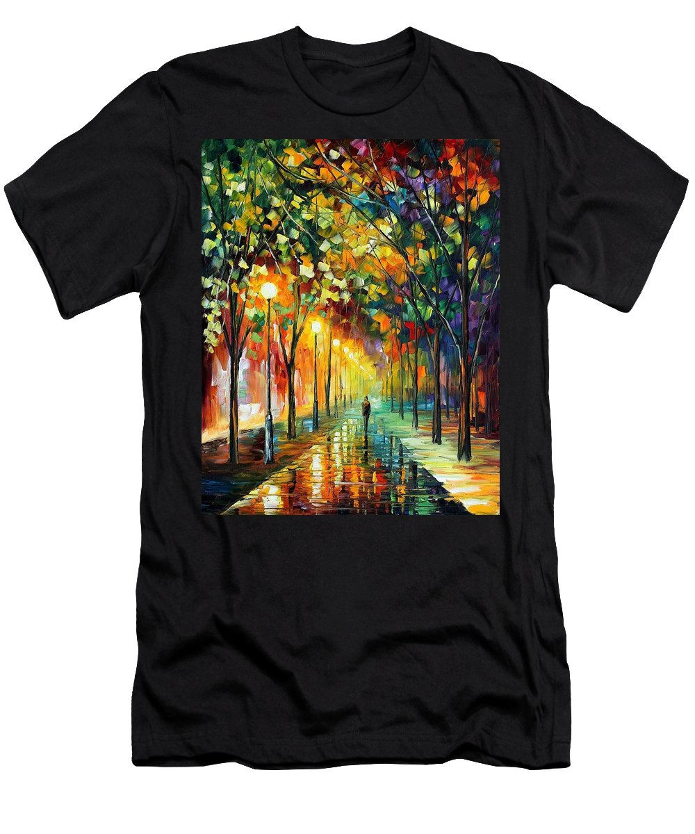 Afremov Men's T-Shirt (Athletic Fit) featuring the painting Green Dreams by Leonid Afremov
