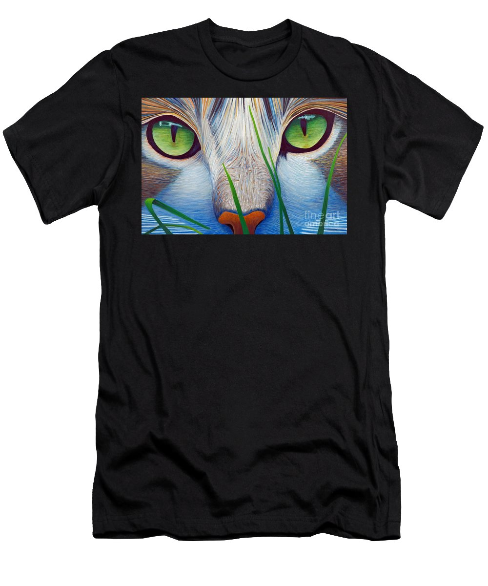 Cat Men's T-Shirt (Athletic Fit) featuring the painting Green Eyes by Brian Commerford