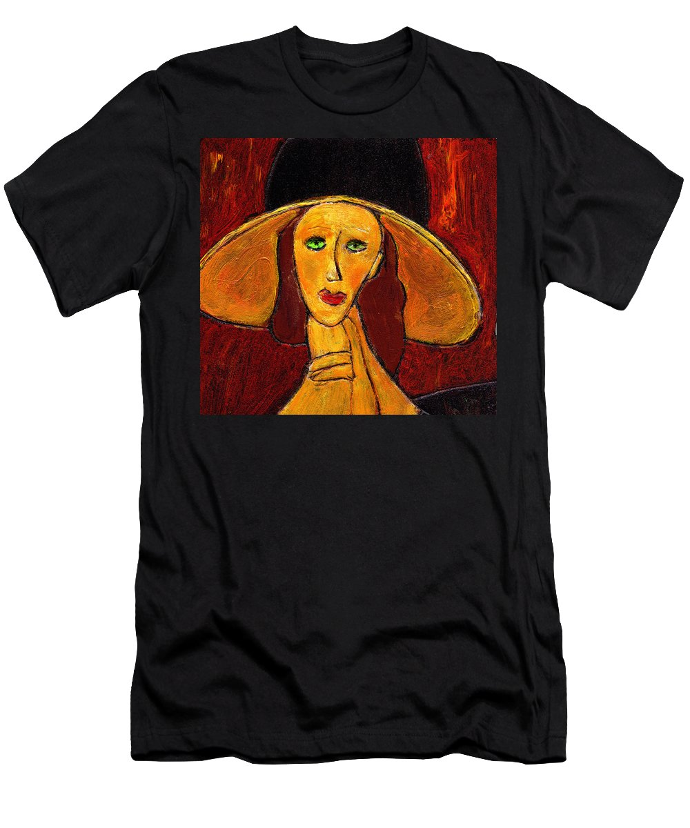 Hat Men's T-Shirt (Athletic Fit) featuring the painting Green Eyes by Wayne Potrafka