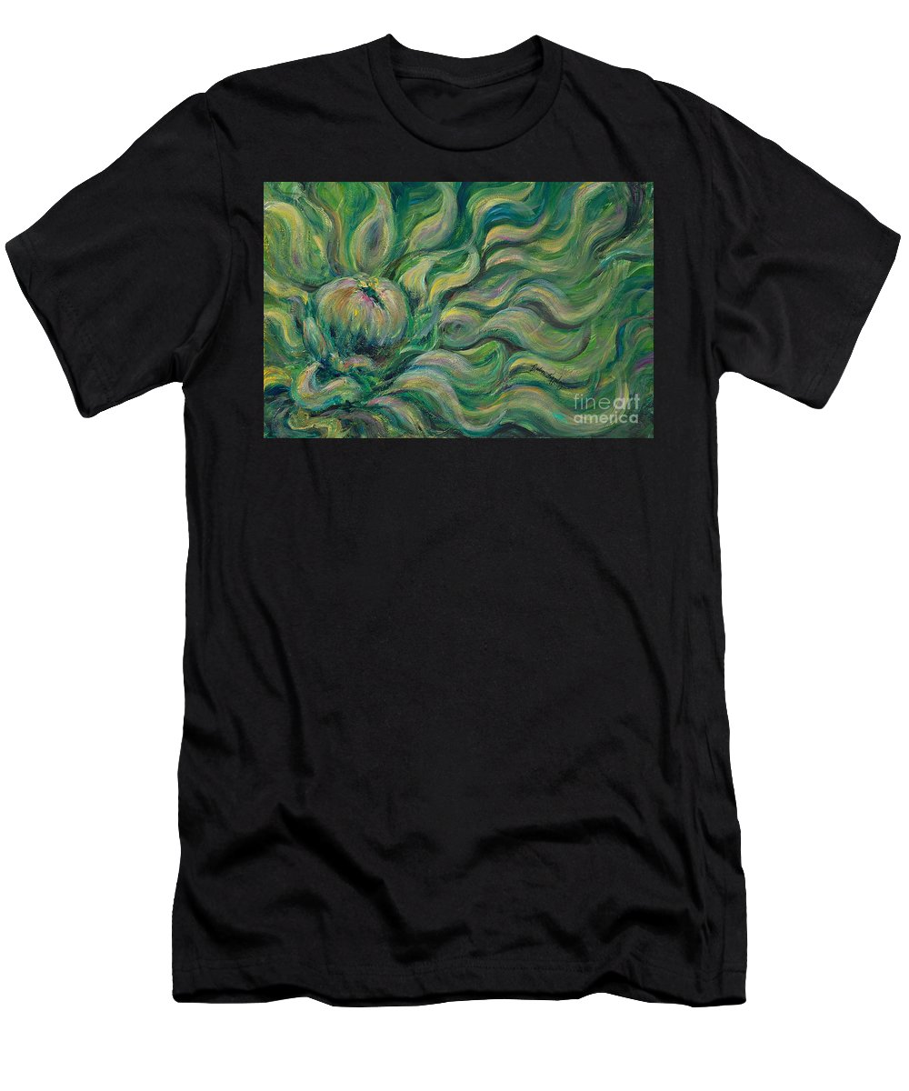 Green Men's T-Shirt (Athletic Fit) featuring the painting Green Flowing Flower by Nadine Rippelmeyer