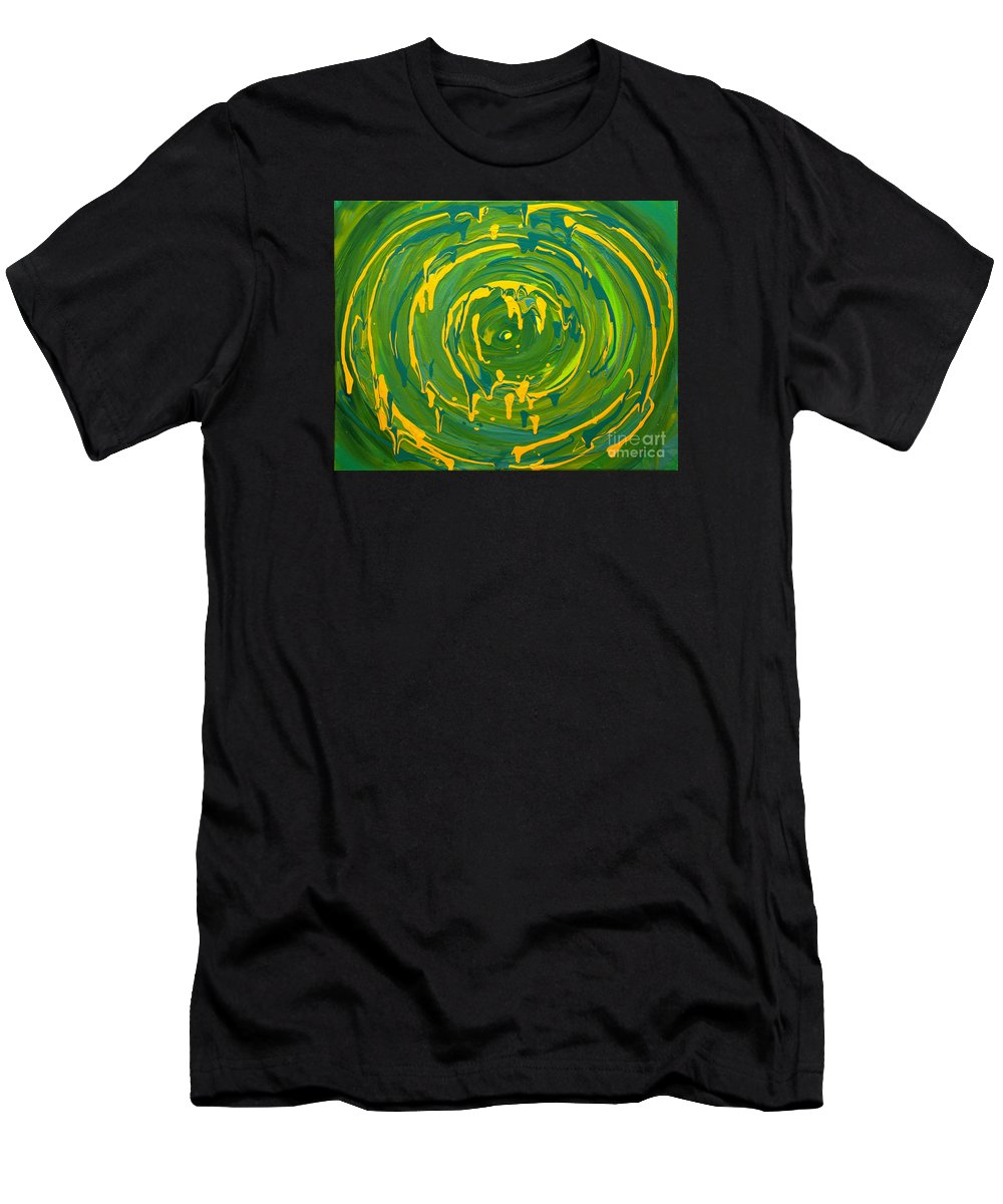 Swirl Men's T-Shirt (Athletic Fit) featuring the painting Green Forest Swirl by Preethi Mathialagan