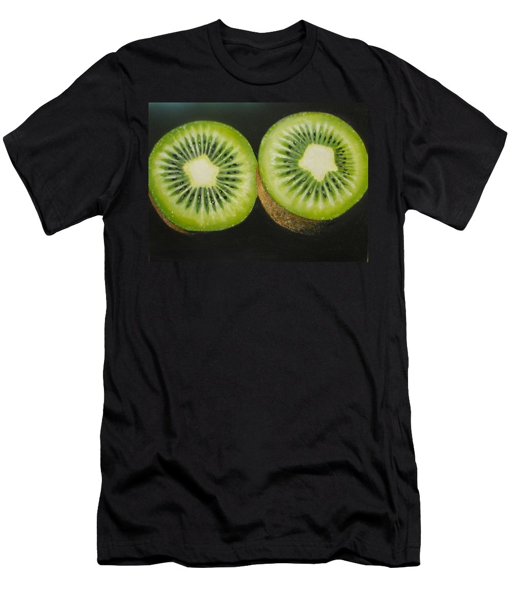 Kiwi Men's T-Shirt (Athletic Fit) featuring the painting Green Kiwi Oil Painting by Natalja Picugina