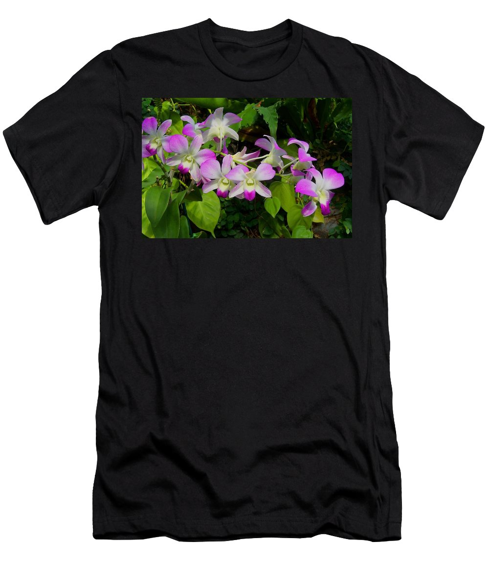 Orchid Men's T-Shirt (Athletic Fit) featuring the photograph Green Leaves With Orchids by Laurie Paci