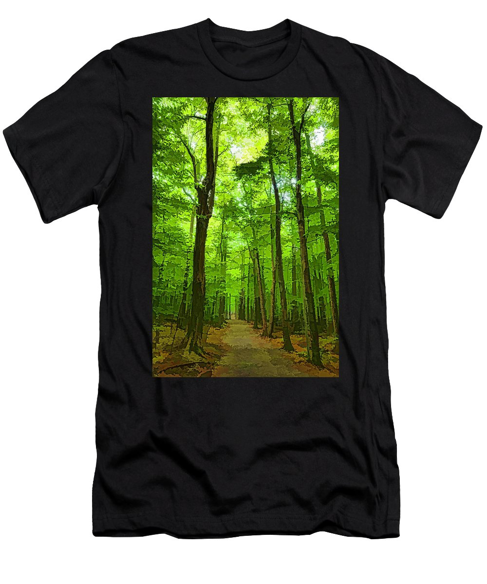 Georgia Mizuleva Men's T-Shirt (Athletic Fit) featuring the digital art Green Light Harmony - Walking Through The Summer Forest by Georgia Mizuleva