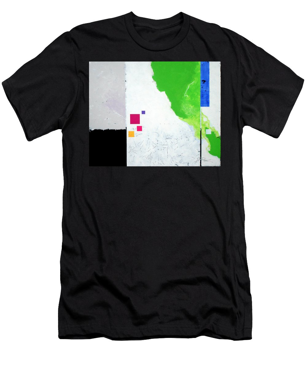 Abstract Men's T-Shirt (Athletic Fit) featuring the painting Green Movement by Jean Pierre Rousselet
