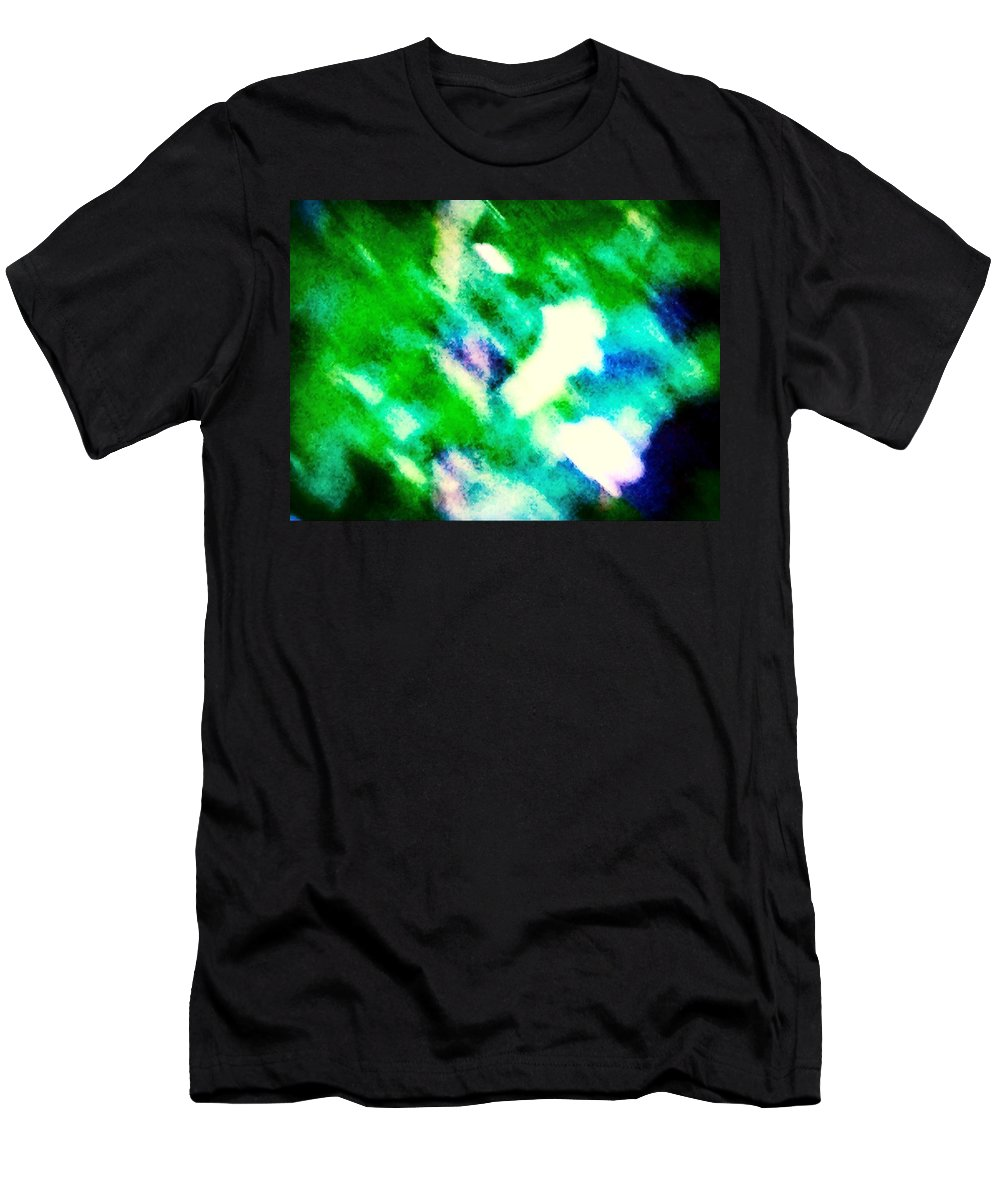 Green Men's T-Shirt (Athletic Fit) featuring the photograph Green Rain Abstract by Debra Lynch