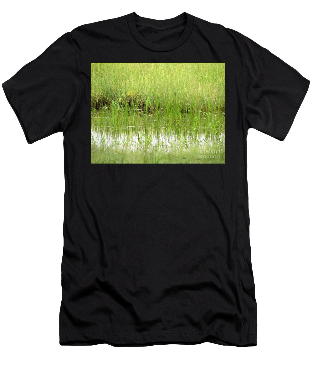 Color Men's T-Shirt (Athletic Fit) featuring the photograph Green Reflections by Tammie Sisneros
