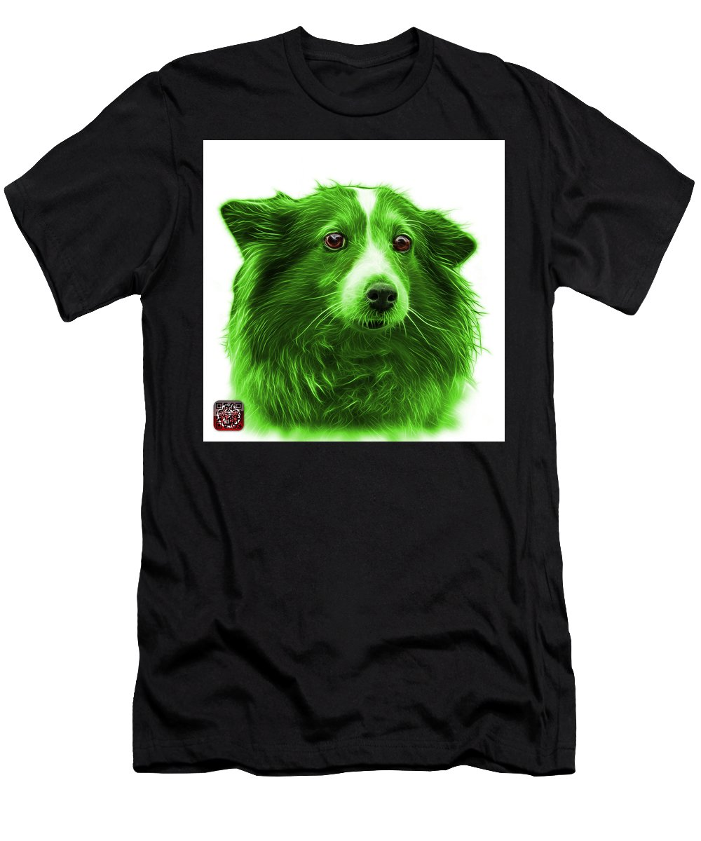 Sheltie Men's T-Shirt (Athletic Fit) featuring the mixed media Green Shetland Sheepdog Dog Art 9973 - Wb by James Ahn
