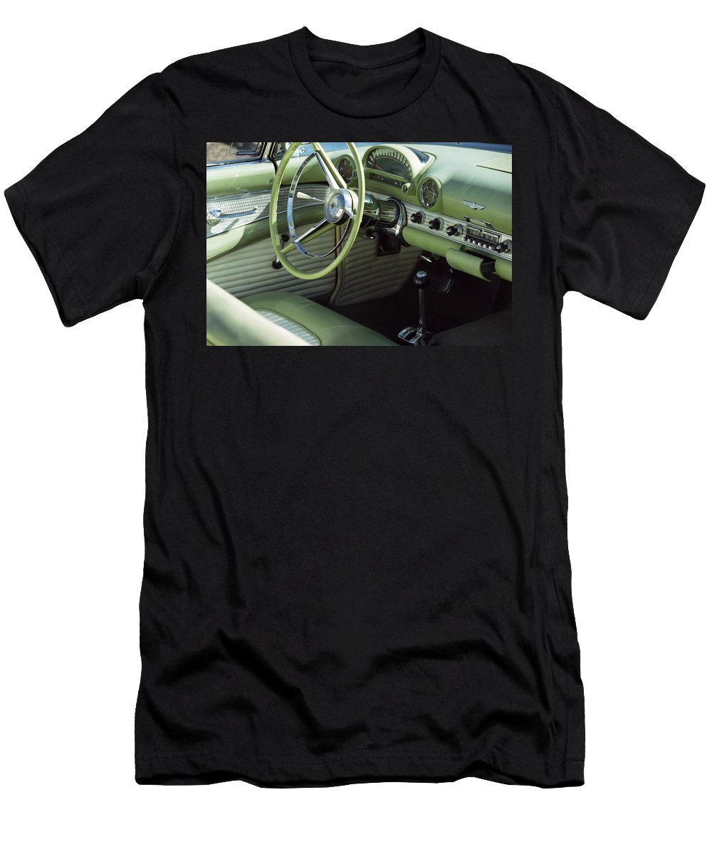 Photography Men's T-Shirt (Athletic Fit) featuring the photograph Green Thunderbird Wheel And Front Seat by Heather Kirk