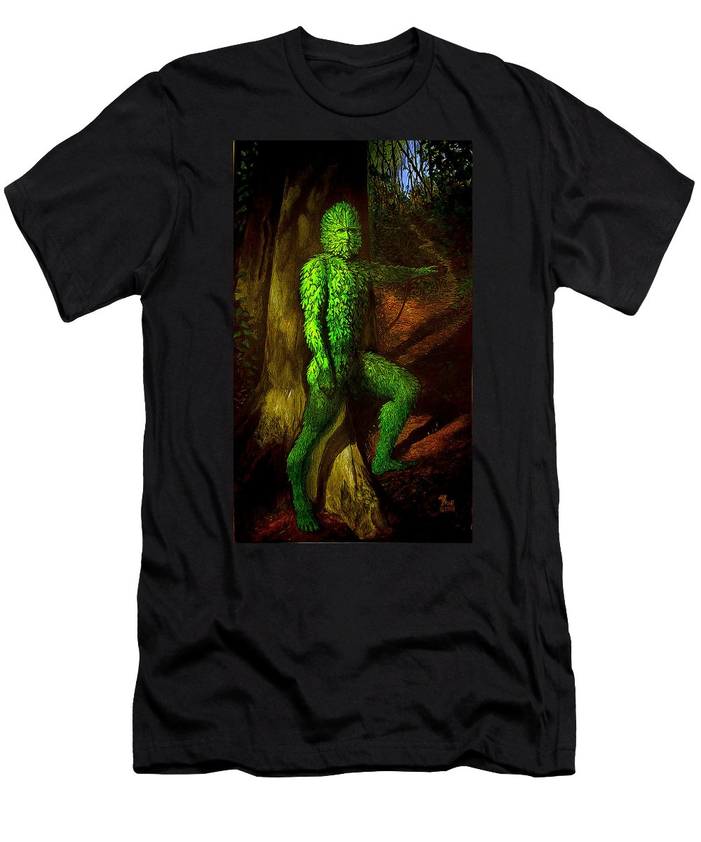 Myth Men's T-Shirt (Athletic Fit) featuring the mixed media Greenman by Will Brown