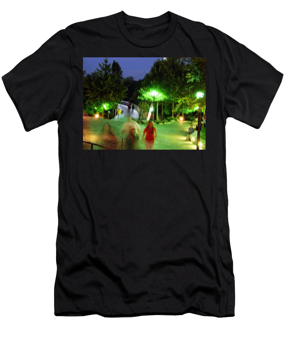 Falls Park Men's T-Shirt (Athletic Fit) featuring the photograph Greenville At Night by Flavia Westerwelle