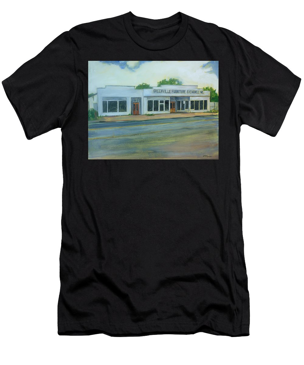 Greenville Men's T-Shirt (Athletic Fit) featuring the painting Greenville Furniture Exchange by Bryan Bustard