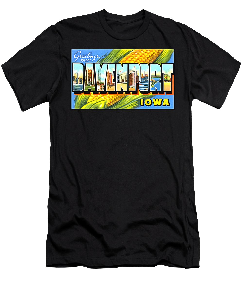 Vintage Collections Cites And States Men's T-Shirt (Athletic Fit) featuring the photograph Greetings From Davenport Iowa by Vintage Collections Cites and States
