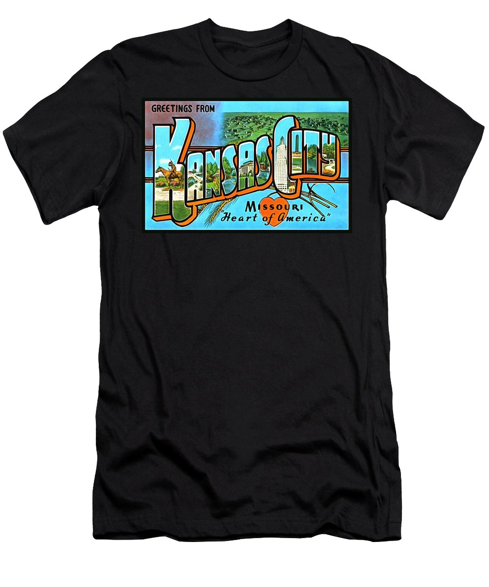 Vintage Men's T-Shirt (Athletic Fit) featuring the photograph Greetings From Kansas City Missouri Heat Of America by Vintage Collections Cites and States
