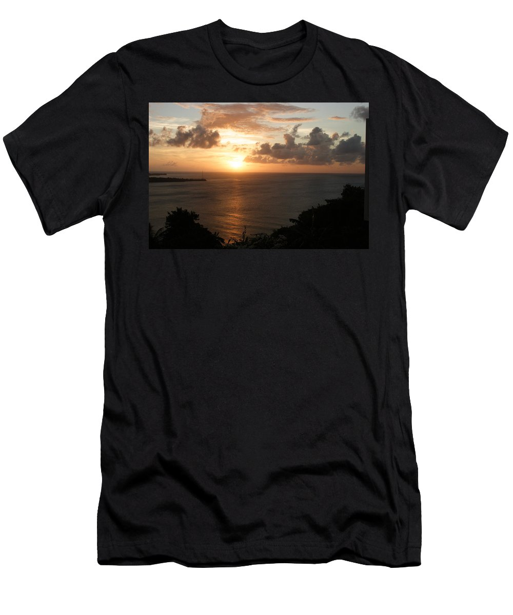 Grenada Men's T-Shirt (Athletic Fit) featuring the photograph Grenadian Sunset I by Jean Macaluso