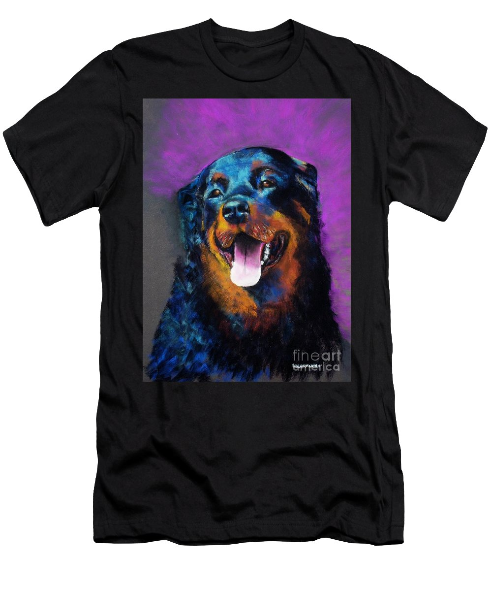 Rottweiler Men's T-Shirt (Athletic Fit) featuring the painting Gretchen by Frances Marino