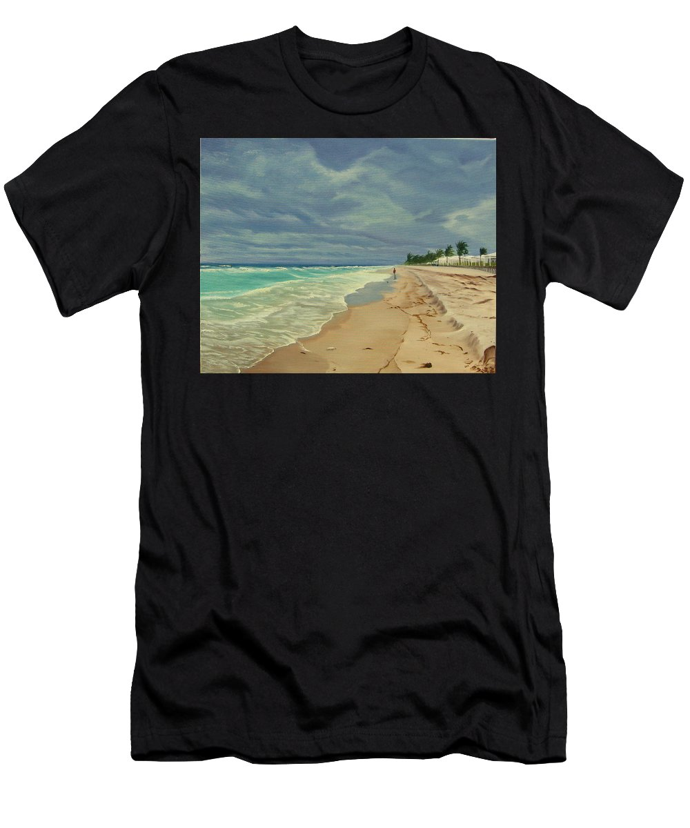 Beach Men's T-Shirt (Athletic Fit) featuring the painting Grey Day On The Beach by Lea Novak