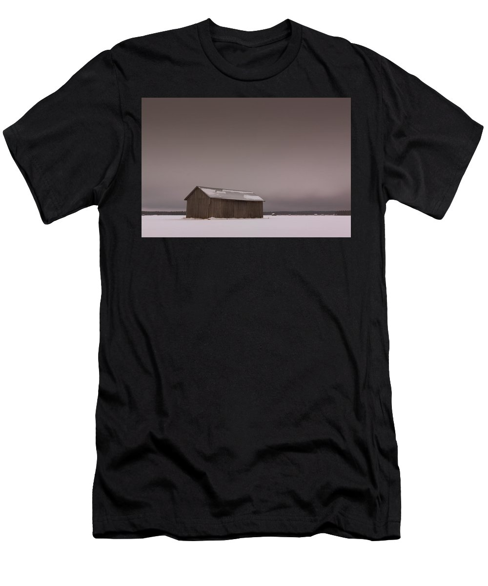 Copy Space Men's T-Shirt (Athletic Fit) featuring the photograph Grey Skies Over The Winter Fields by Jukka Heinovirta
