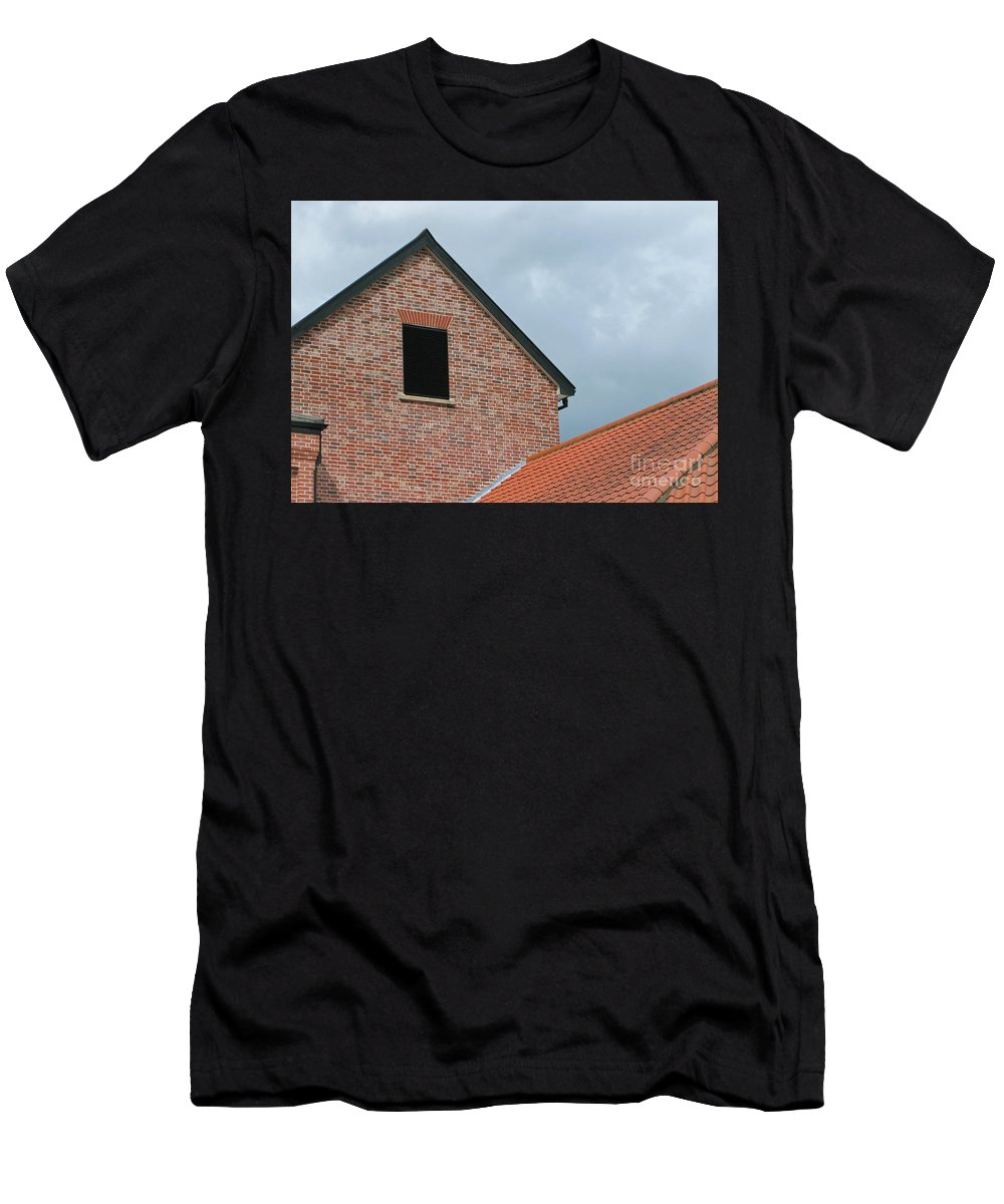 Brick Men's T-Shirt (Athletic Fit) featuring the photograph Grey Skyline by Ann Horn