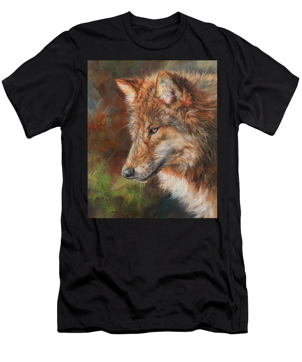 Wolf Men's T-Shirt (Athletic Fit) featuring the painting Grey Wolf Face by David Stribbling