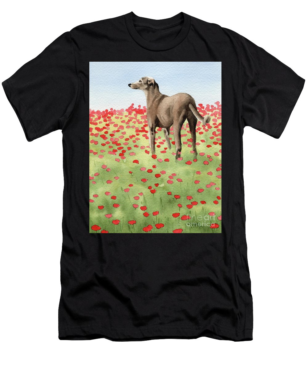 Greyhound Men's T-Shirt (Athletic Fit) featuring the painting Greyhound In Poppies by David Rogers