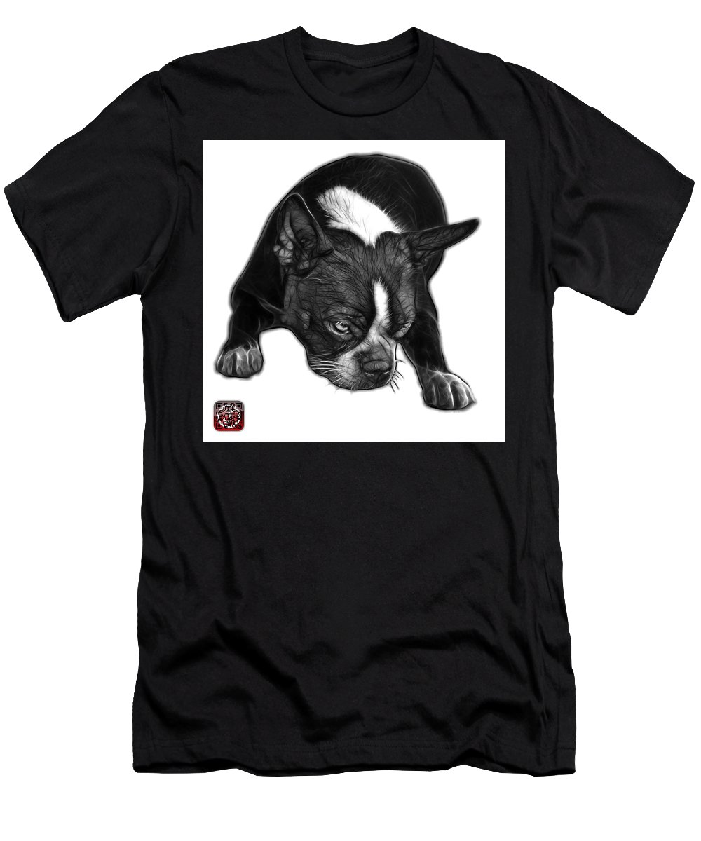 Boston Terrier Men's T-Shirt (Athletic Fit) featuring the mixed media Greyscale Boston Terrier Art - 8384 - Wb by James Ahn