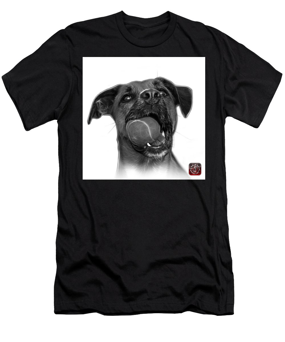 Dog Men's T-Shirt (Athletic Fit) featuring the mixed media Greyscale Boxer Mix Dog Art - 8173 - Wb by James Ahn
