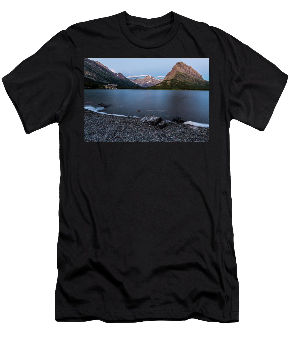 Gnp Men's T-Shirt (Athletic Fit) featuring the photograph Grinnell Point Over Swiftcurrent Lake by Craig Tata