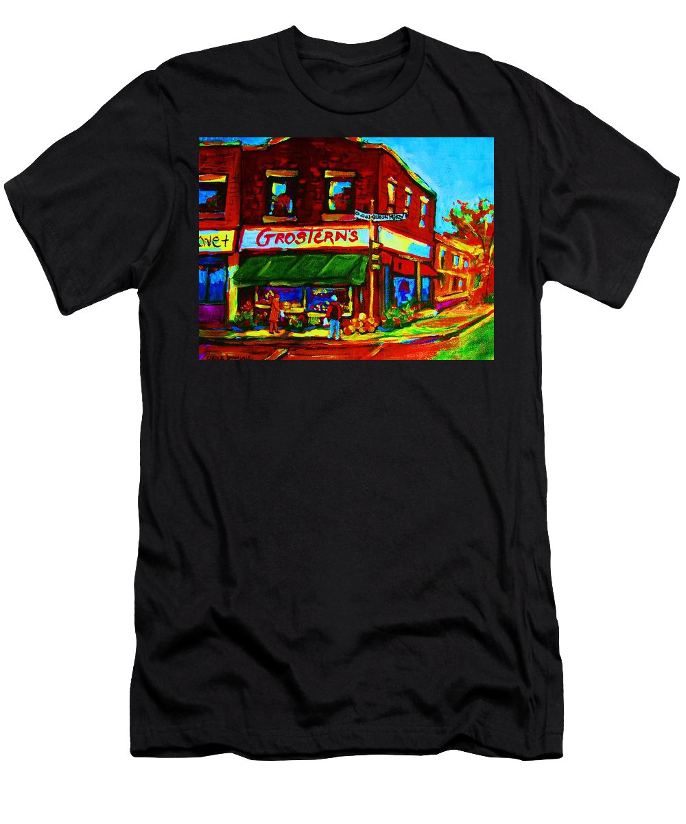 Grosterns Men's T-Shirt (Athletic Fit) featuring the painting Grosterns Market by Carole Spandau