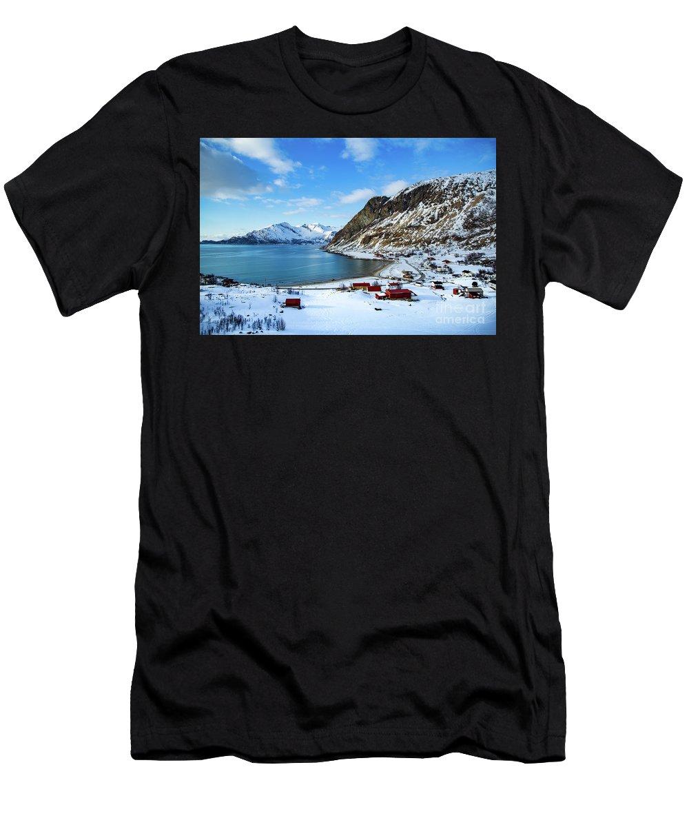 Grøtfjord Men's T-Shirt (Athletic Fit) featuring the photograph Grotfjord Norway by Mariusz Czajkowski