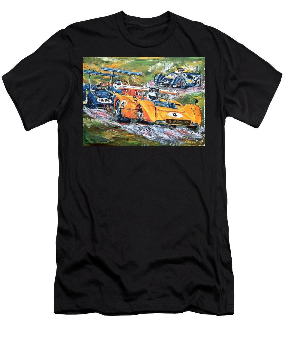 Can-am Race Cars Men's T-Shirt (Athletic Fit) featuring the painting Group 7 Out Of The Corkscrew by Debbie Sampson