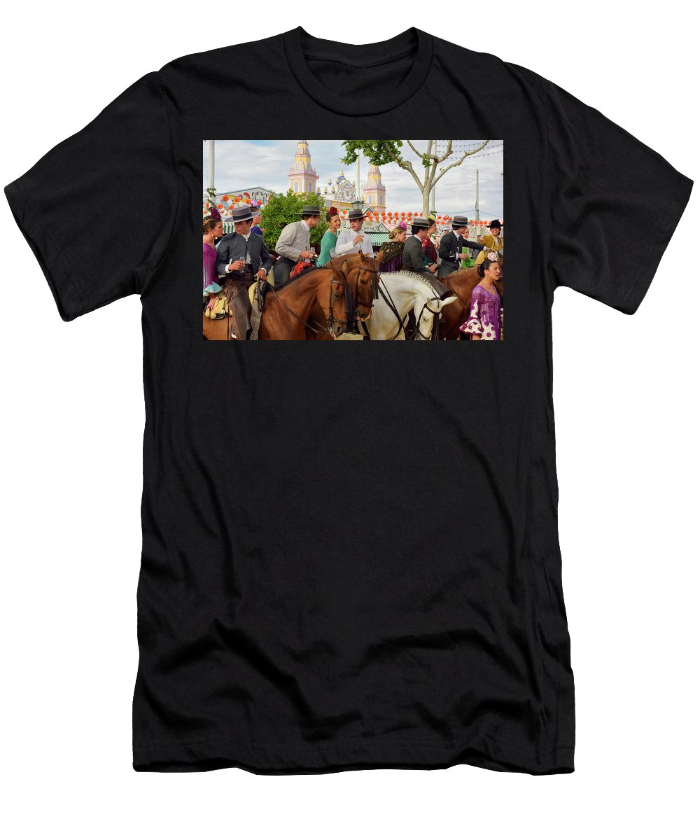 Group Men's T-Shirt (Athletic Fit) featuring the photograph Group Of Couples On Horseback Drinking And Partying At The Sevil by Reimar Gaertner