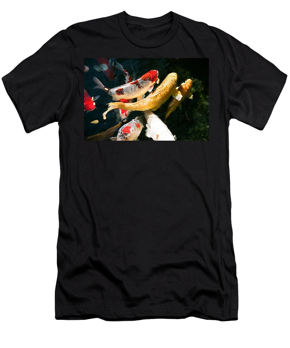 Fish Men's T-Shirt (Athletic Fit) featuring the photograph Group Of Koi Fish by Dean Triolo