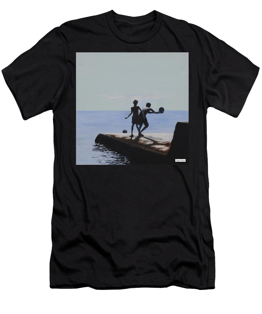 Seascape Men's T-Shirt (Athletic Fit) featuring the painting Groyne Series - What A Catch by Jacqueline Hammond