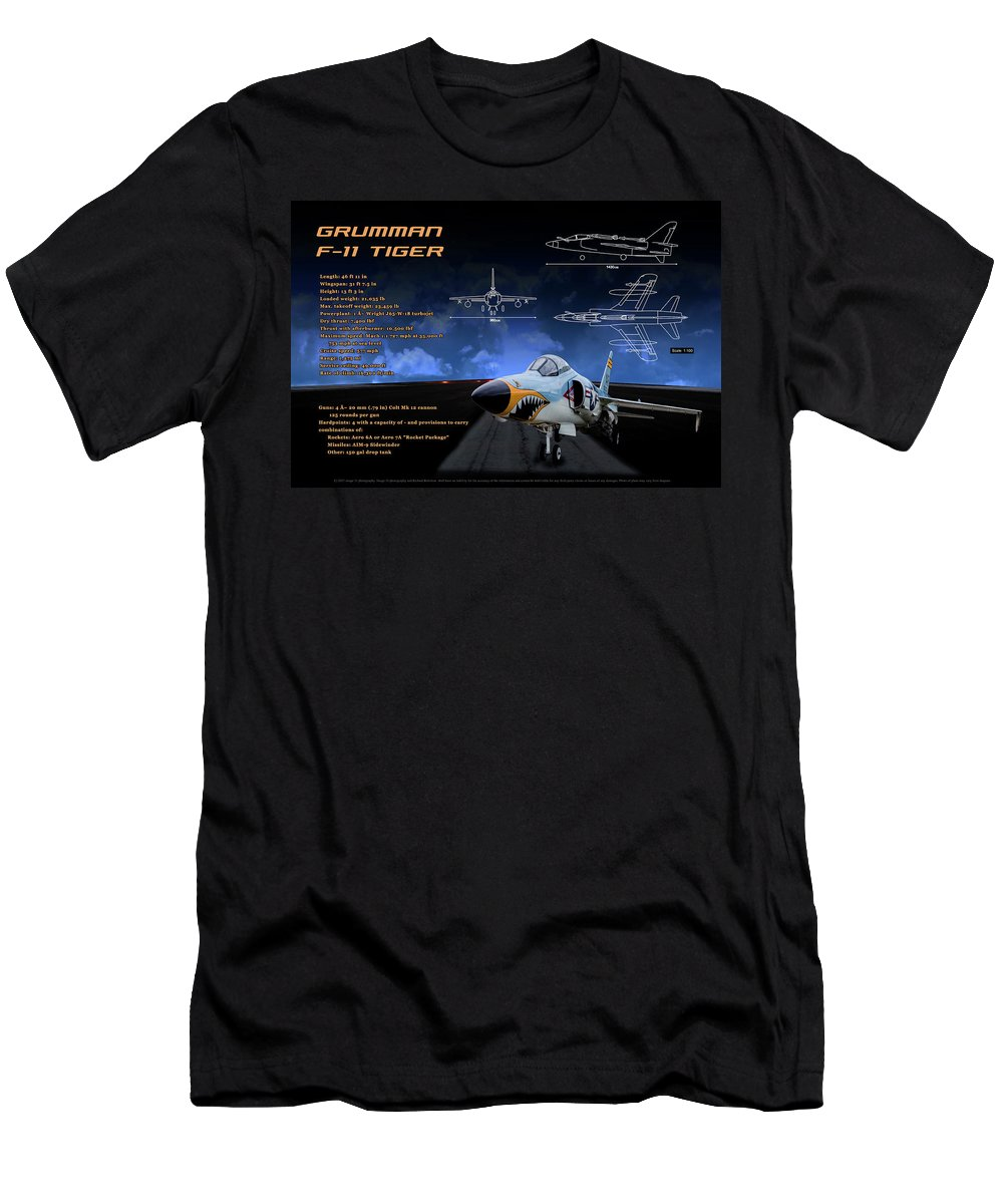 Grumman F-11 Tiger Men's T-Shirt (Athletic Fit) featuring the photograph Grumman F-11 Tiger by Richard Hamilton