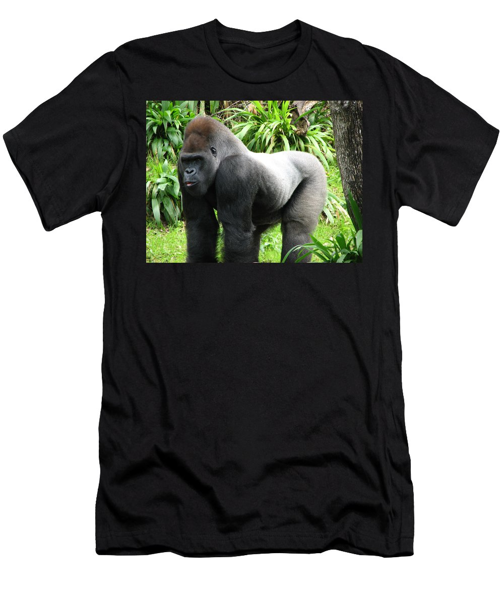 Gorilla T-Shirt featuring the photograph Grumpy Gorilla II by Creative Solutions RipdNTorn
