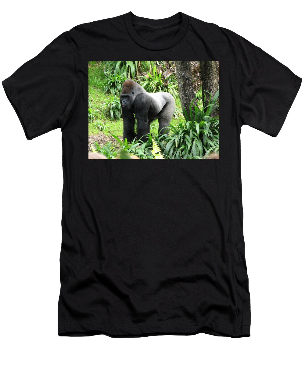 Gorilla T-Shirt featuring the photograph Grumpy Gorilla III by Creative Solutions RipdNTorn
