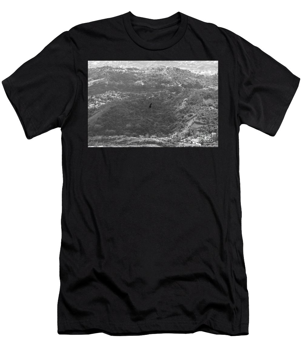 Bird Men's T-Shirt (Athletic Fit) featuring the photograph Guaraguao Bw by Gilberto Marcano