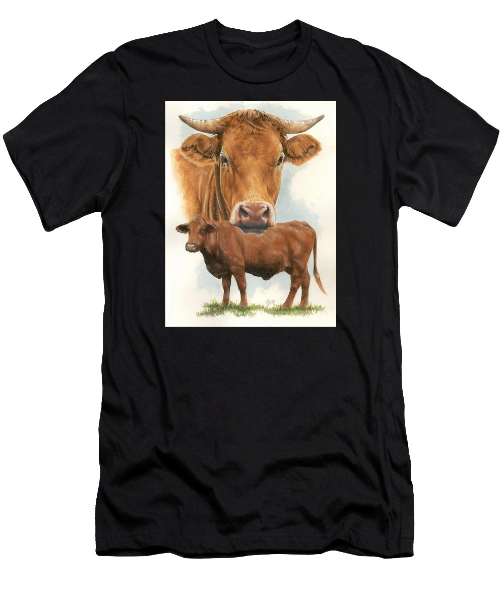 Cow Men's T-Shirt (Athletic Fit) featuring the mixed media Guernsey by Barbara Keith