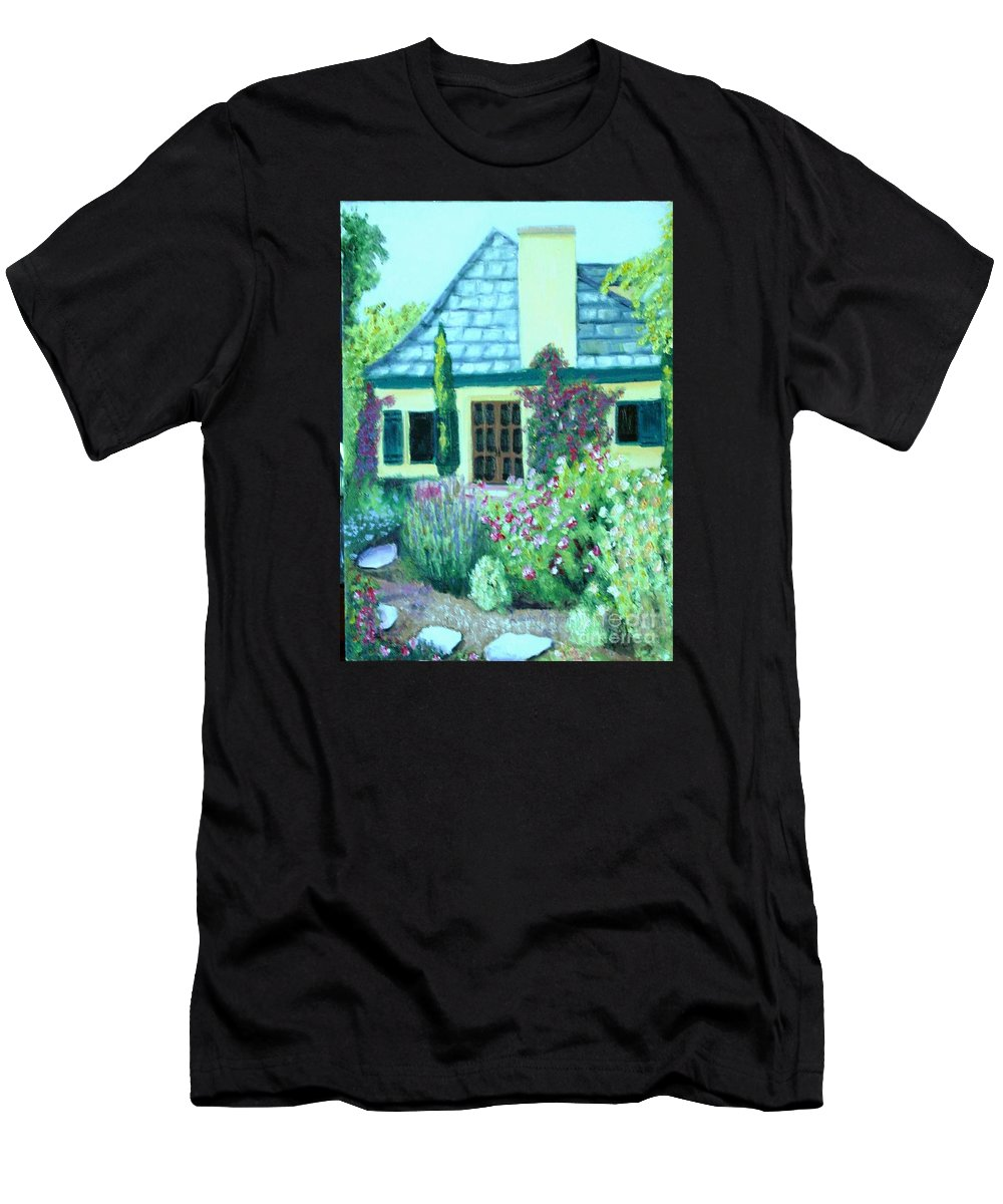 Cottage Men's T-Shirt (Athletic Fit) featuring the painting Guest Cottage by Laurie Morgan