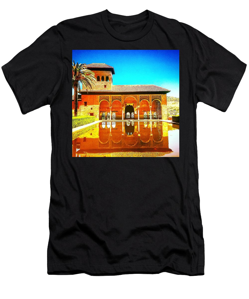 Spain Men's T-Shirt (Athletic Fit) featuring the photograph Guest House At The Alhambra by Alex Favela